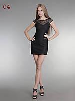 Женское короткое гипюровое платье черное