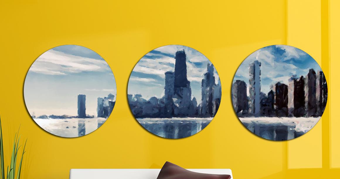 Картина модульная Круглая 3 модуля 50 смØ Город