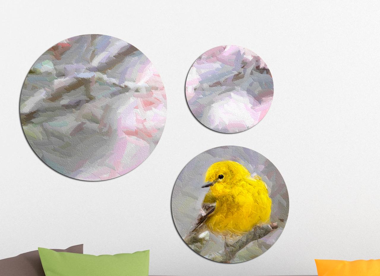 Фотокартина модульная Круглая 3 модуля Желтая птица