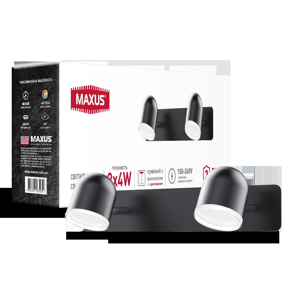 Спотовый светодиодный светильник (бра) MAXUS MSL-01W 2x4W 4100K Черный