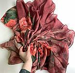 Палантин шерстяной 10747-6, павлопосадский шарф-палантин шерстяной (разреженная шерсть) с осыпкой, фото 6