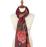 Палантин шерстяной 10747-6, павлопосадский шарф-палантин шерстяной (разреженная шерсть) с осыпкой, фото 2