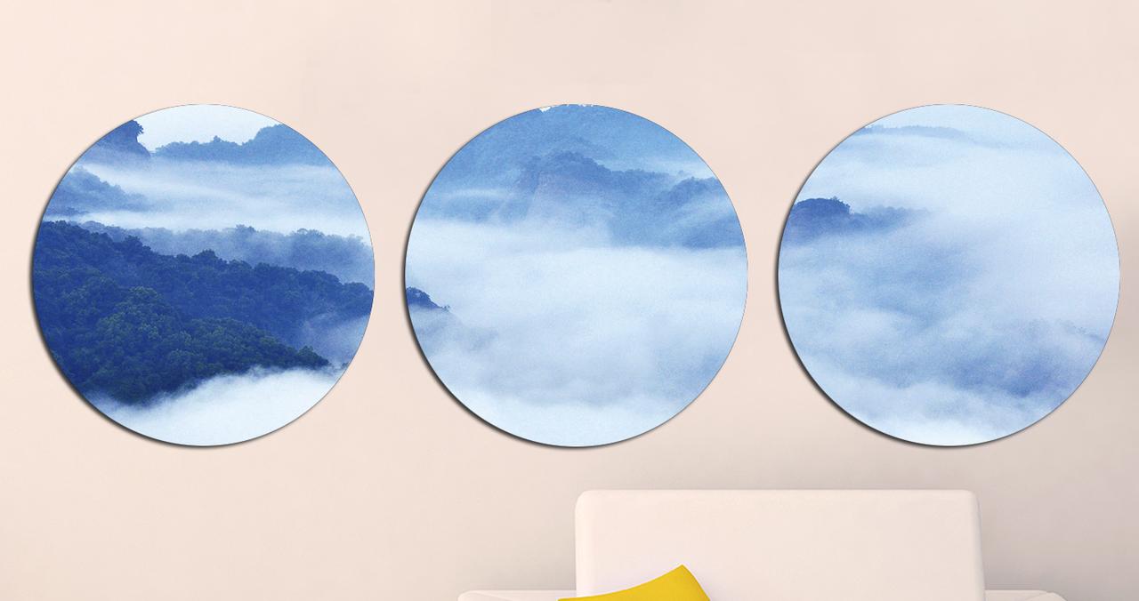 Картина Круглая 3 модуля 40 смØ Морской Горный пейзаж
