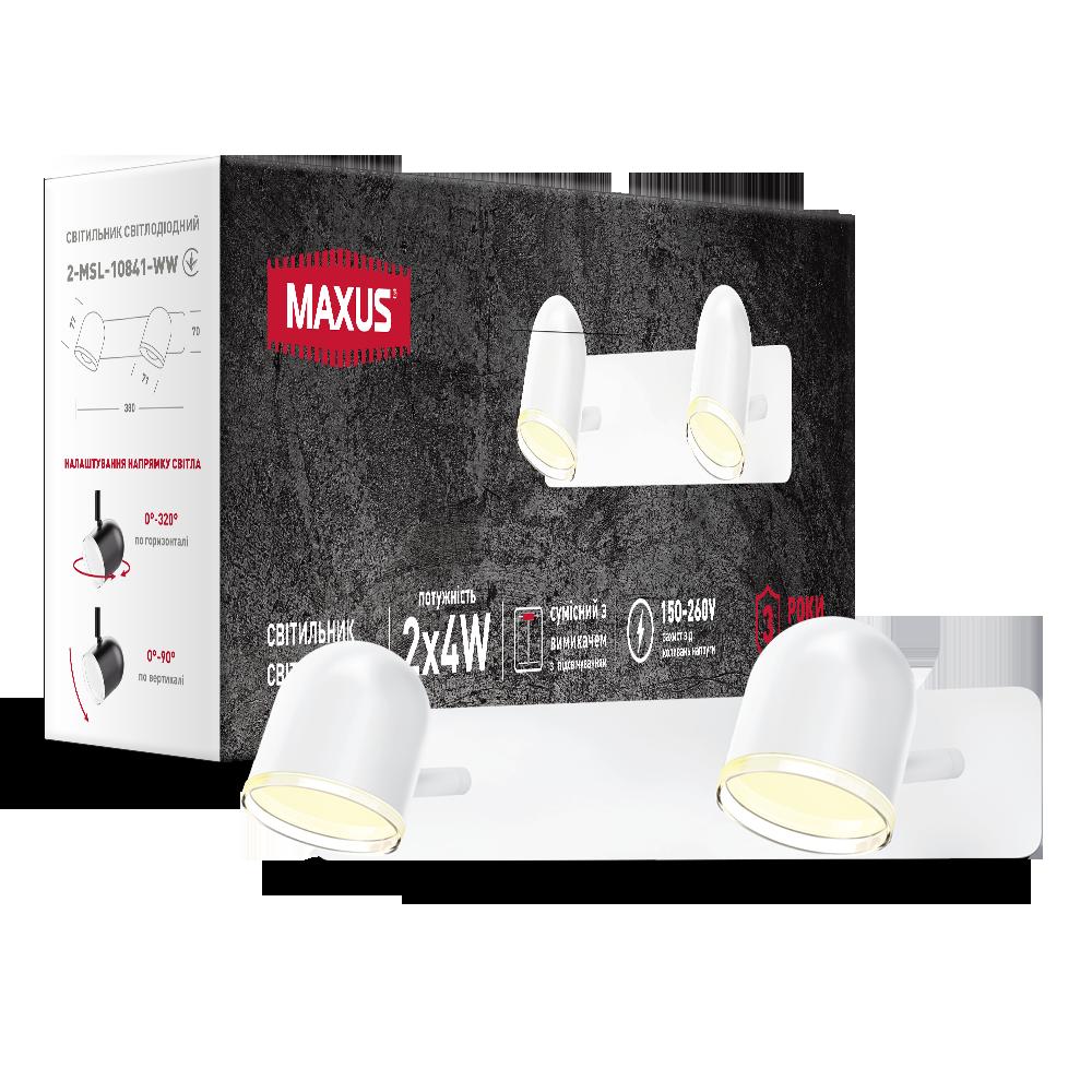 Спотовый светодиодный светильник (бра) MAXUS MSL-01W 2x4W 4100K Белый