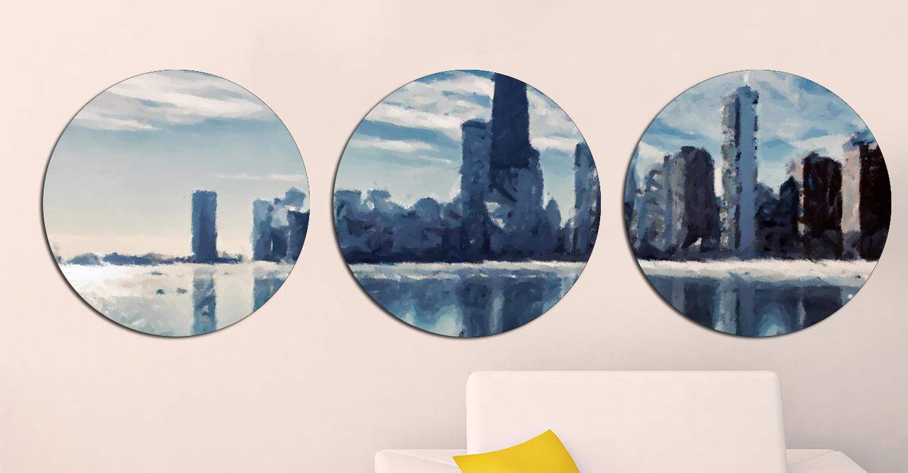 Картина модульная Круглая 3 модуля 40 смØ Город