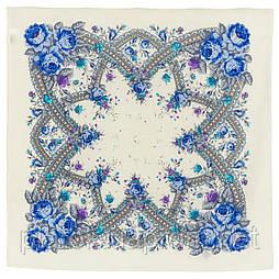 Волшебный край 1597-4, павлопосадский платок шерстяной с оверлоком