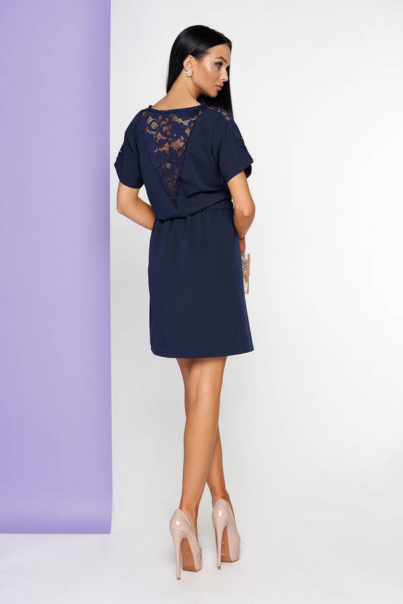 Летнее платье с гипюром темно-синее, фото 2