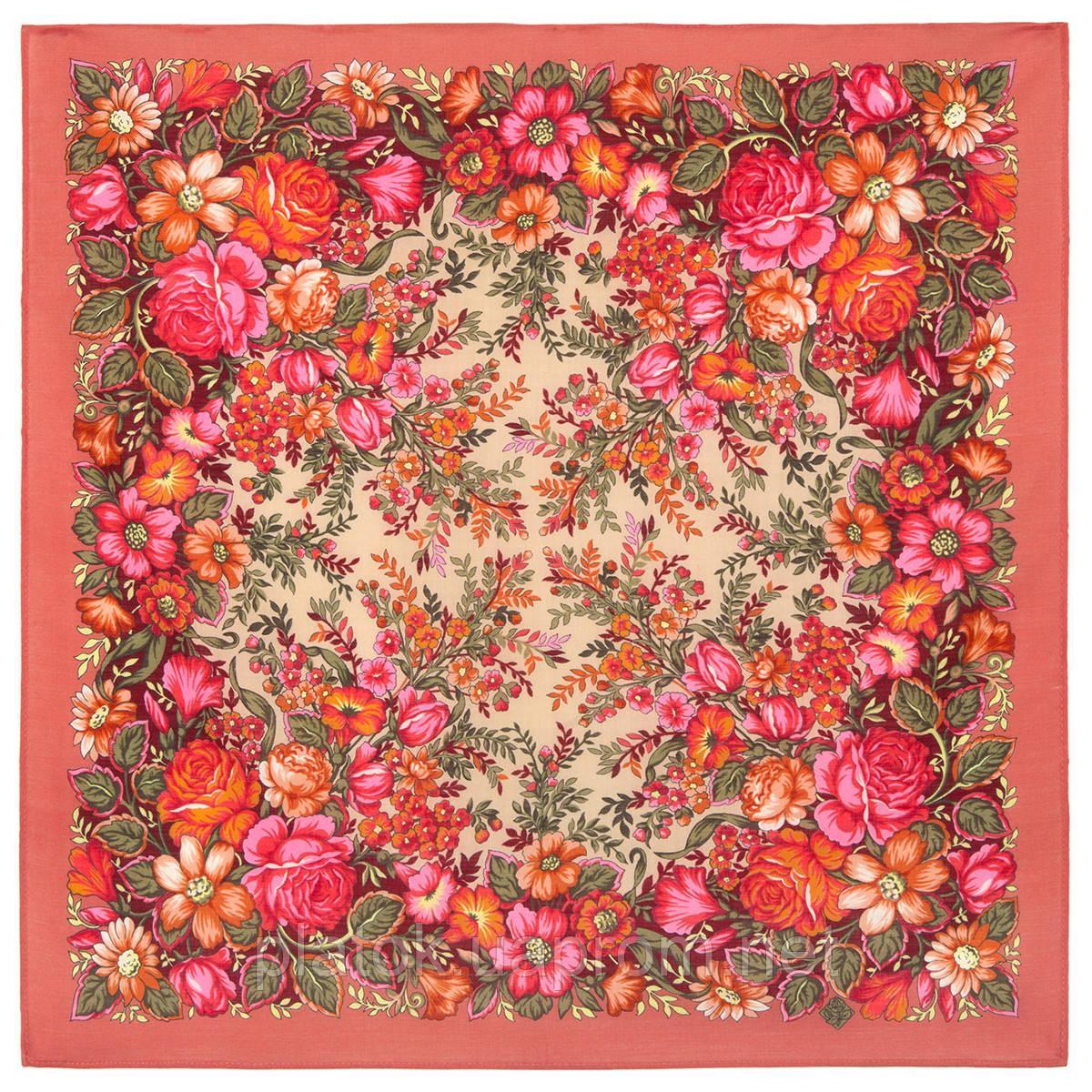 Заветная мечта 1821-4, павлопосадский платок шерстяной  с оверлоком