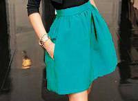Модная женская юбка с карманами бирюзовый