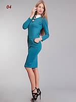 Платье офисное шерсть бирюза, фото 1