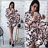 Принтованное летнее платье для мамы и дочки с поясом 28NA39