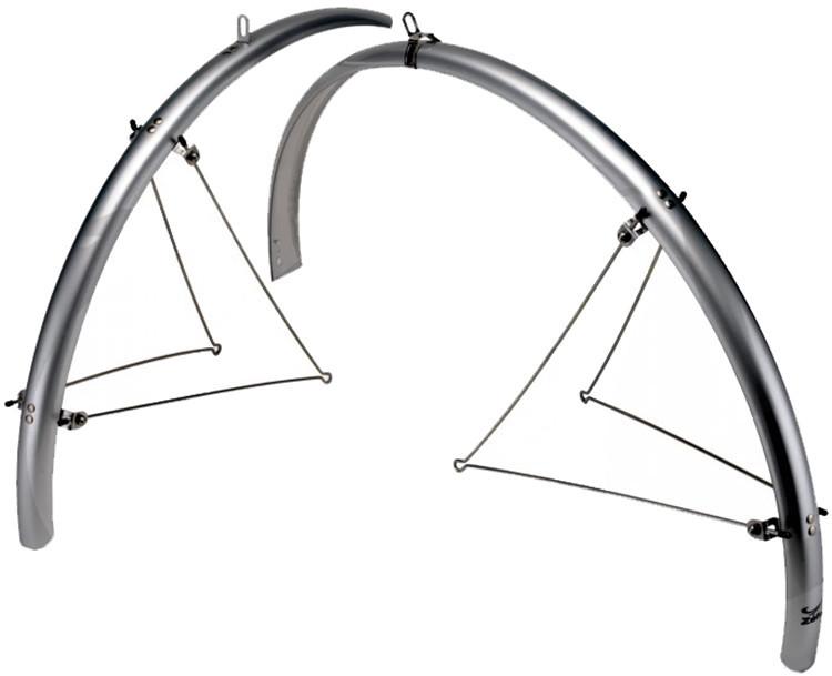 """Крылья Zefal 26-28"""" Paragon Steel Bridge MTB Set (204002) длинные с метал. опорами, серебр."""