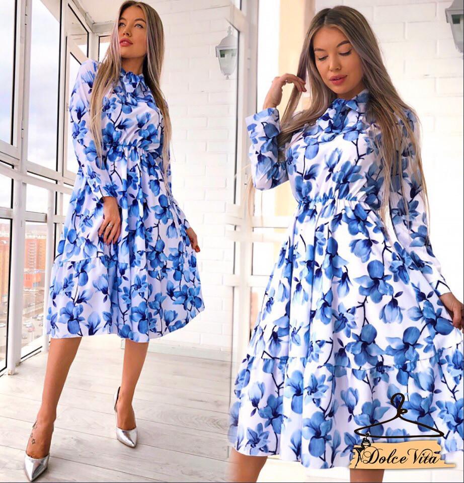 8314e8d8e1e Летнее цветочное платье - рубашка длиной миди 22py2584 - Интернет-магазин  Tailor в Харькове