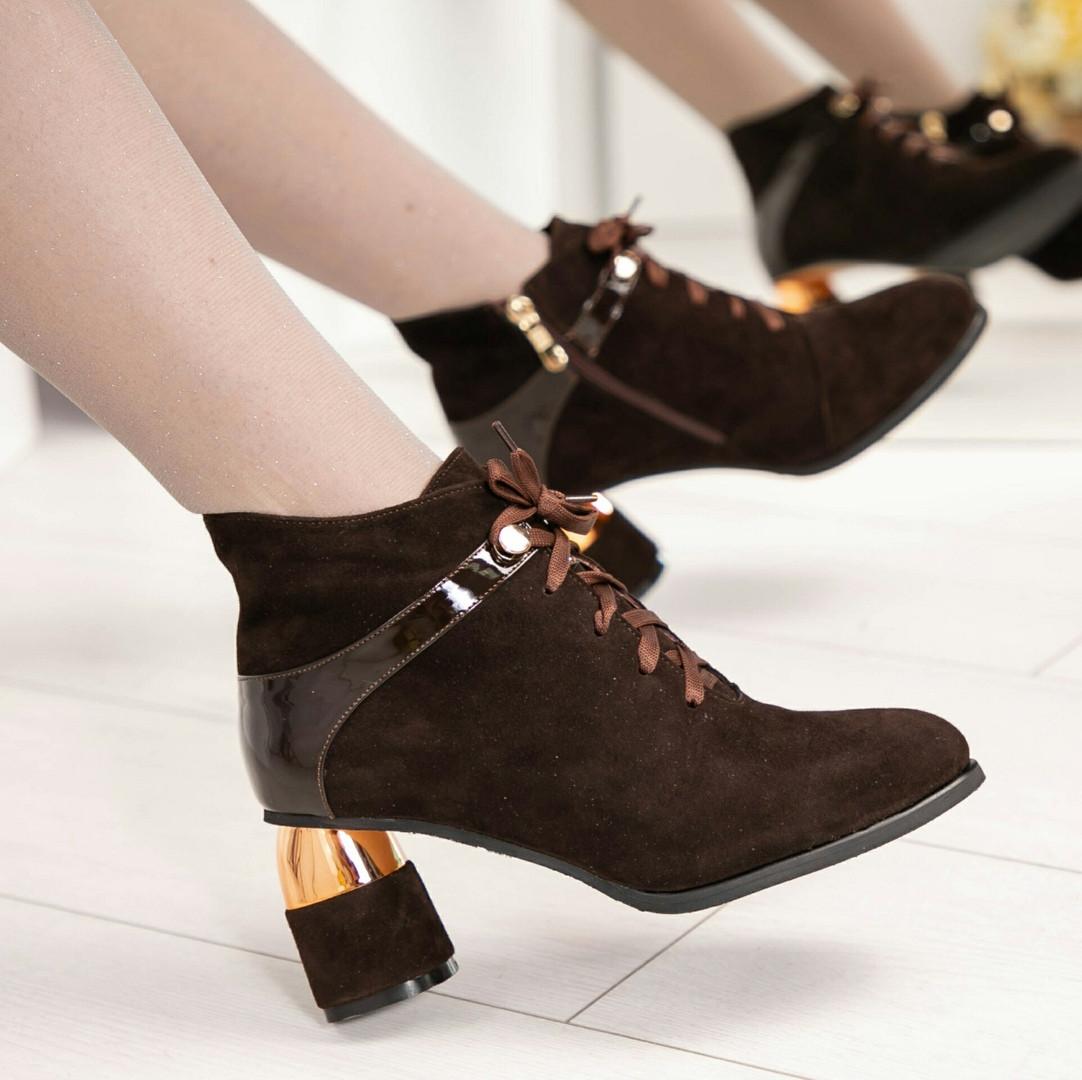 Ботильоны женские на оригинальном каблуке