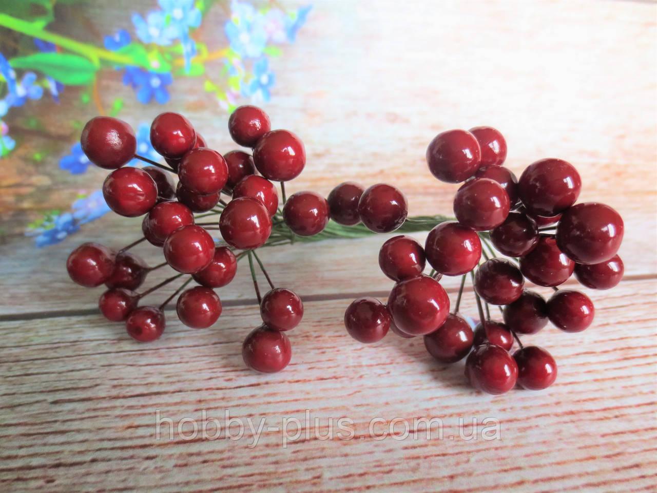 Калина глянцевая, цвет бордовый (МАРСАЛА), 50 шт., d 9 мм