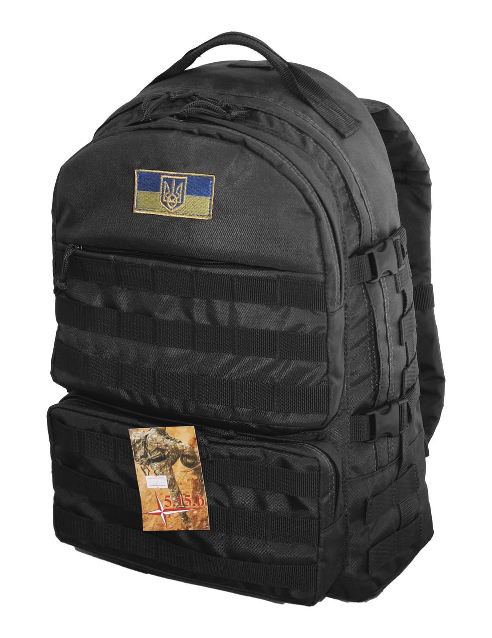 Тактический походный супер-крепкий рюкзак на 40 литров Черный с ортопедической спиной
