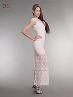 Длинное гипюровое платье пудра, фото 1