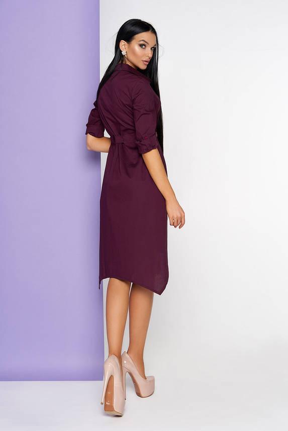 Платье рубашка бордовое миди, фото 2