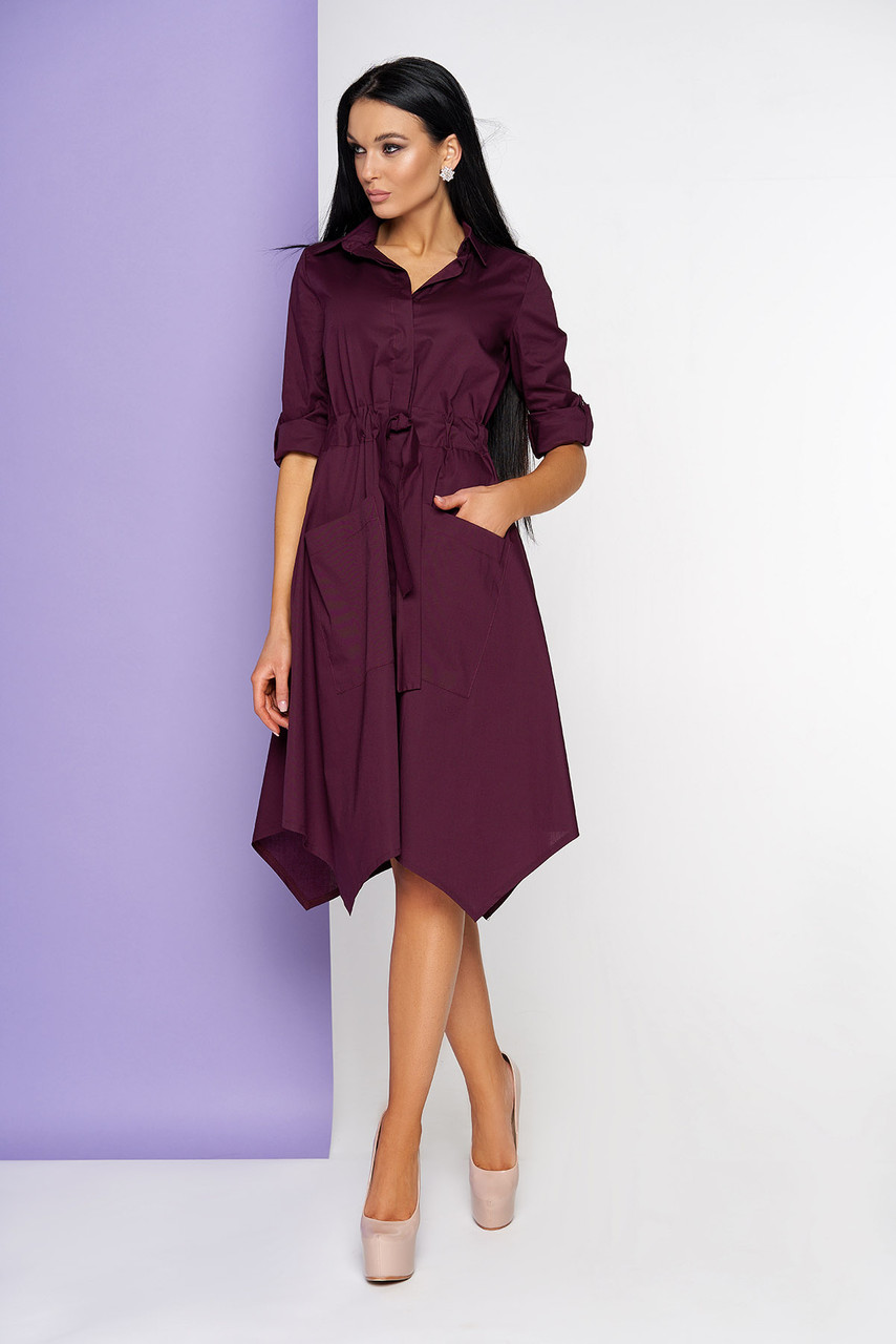 Платье рубашка бордовое миди