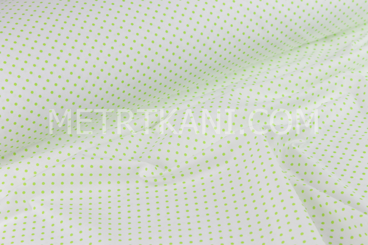 Бавовняна тканина з салатовим горохом 4мм на білому тлі №338
