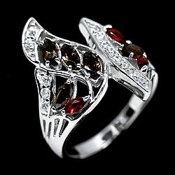 Серебряное кольцо с раухтопазом и гранатом, серебро 925, кольцо, 1629КЦГ
