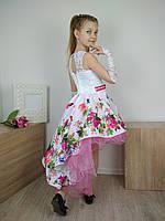 Дизайнерское пышное платье шлейф  цветами 4-10 лет, фото 1