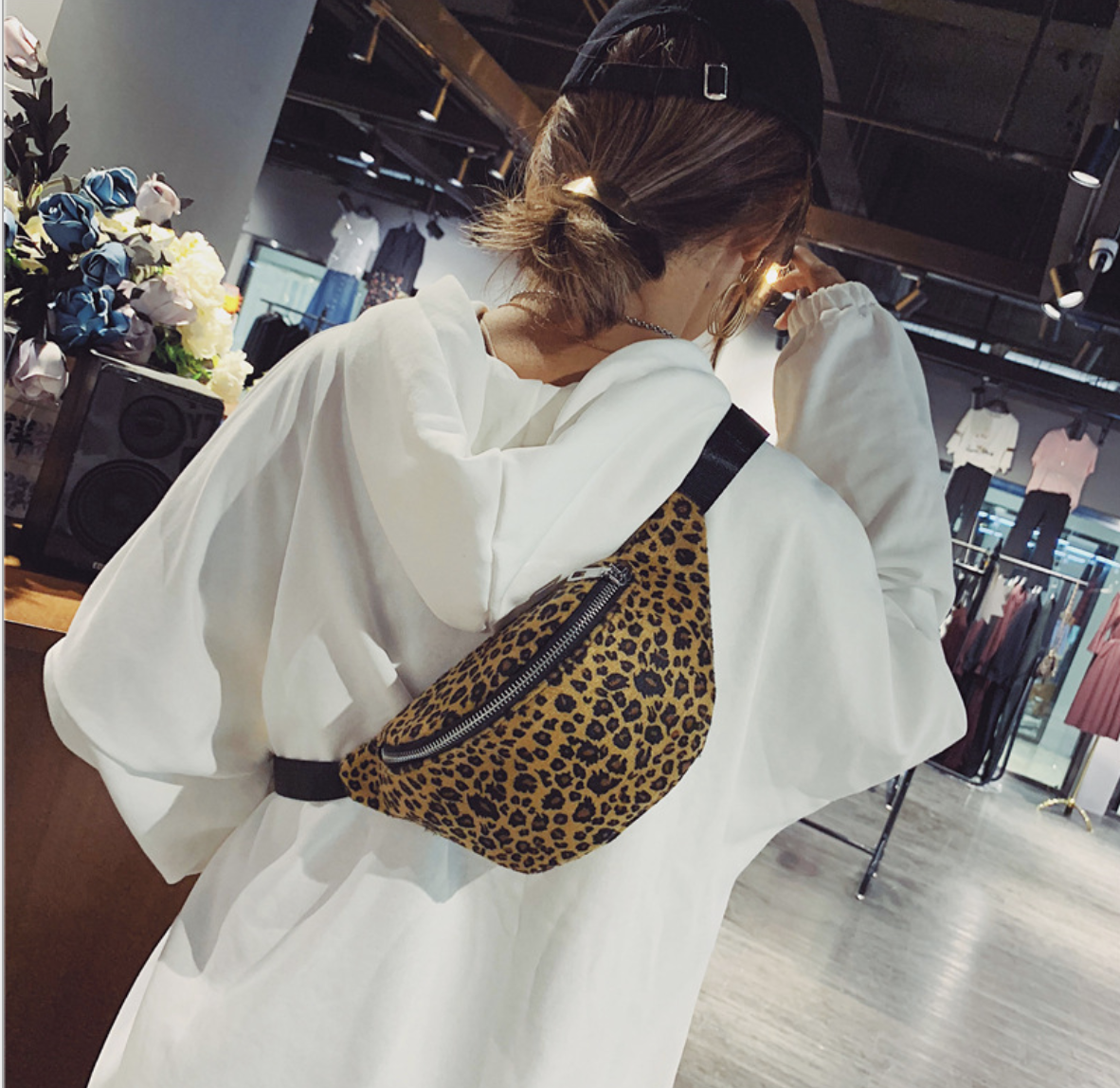 Женская сумка на пояс через плечо поясная бананка crossbody кросс боди барсетка леопард