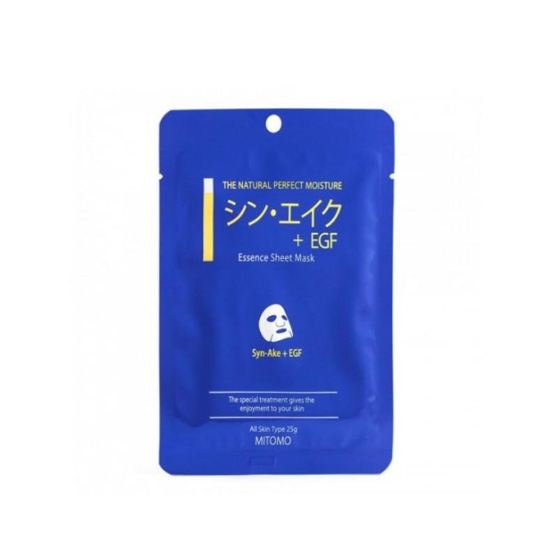 "Увлажняющая тканевая маска для лица ""Пептиды змеи + EGF"" Mitomo Essence Sheet Mask Syn-Ake + EGF 25 г"