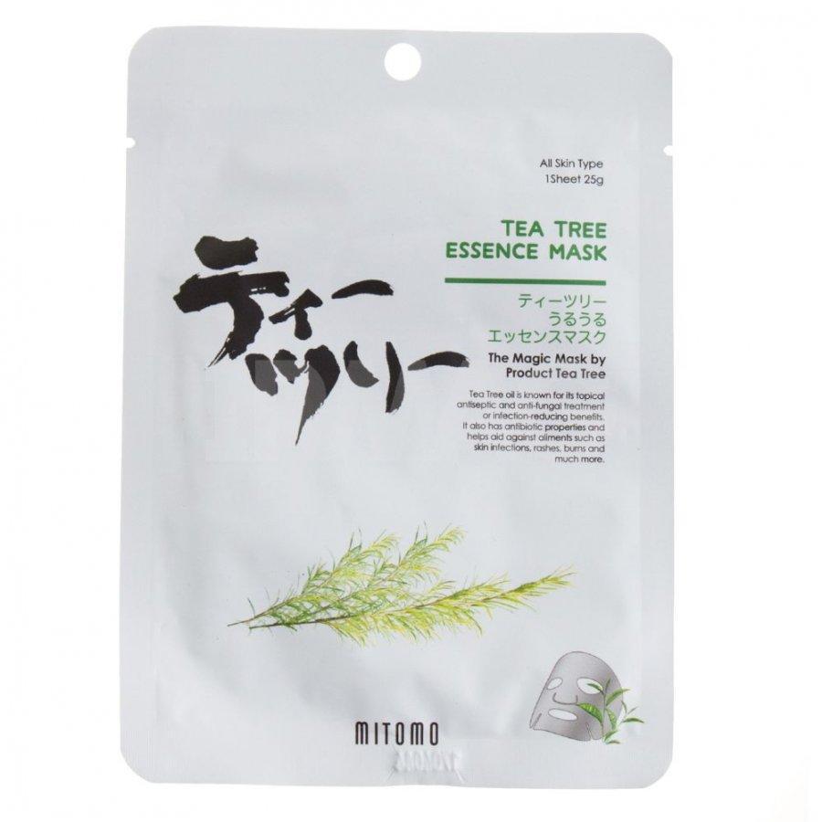 Успокаивающая тканевая маска для лица с маслом чайного дерева Mitomo Tea Tree Essence Mask 25 г