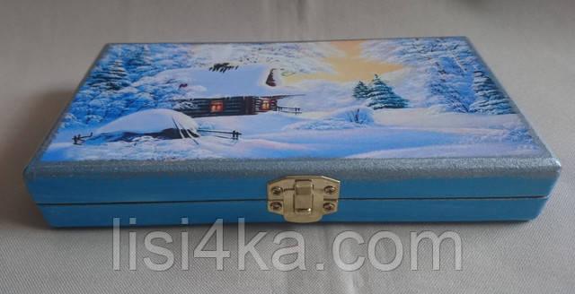 Деревянная голубая  купюрница с зимним рисунком
