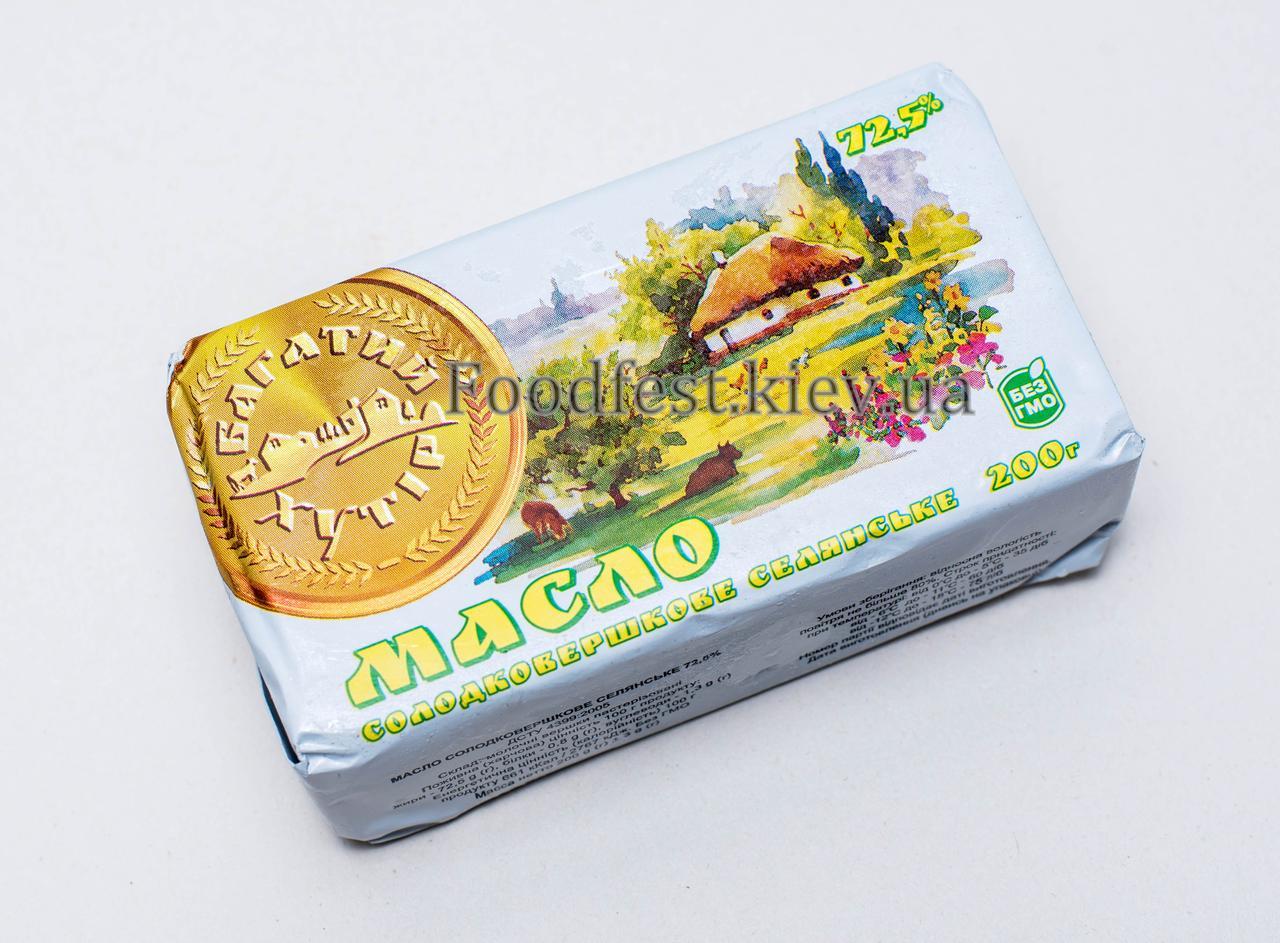 Масло сливочное селянское 72,5% ТМ Багатий хутір 200г