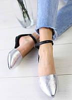 Босоножки женские, черные задник и ремешок, материал - натуральная кожа, FS-3056-3. Серебро