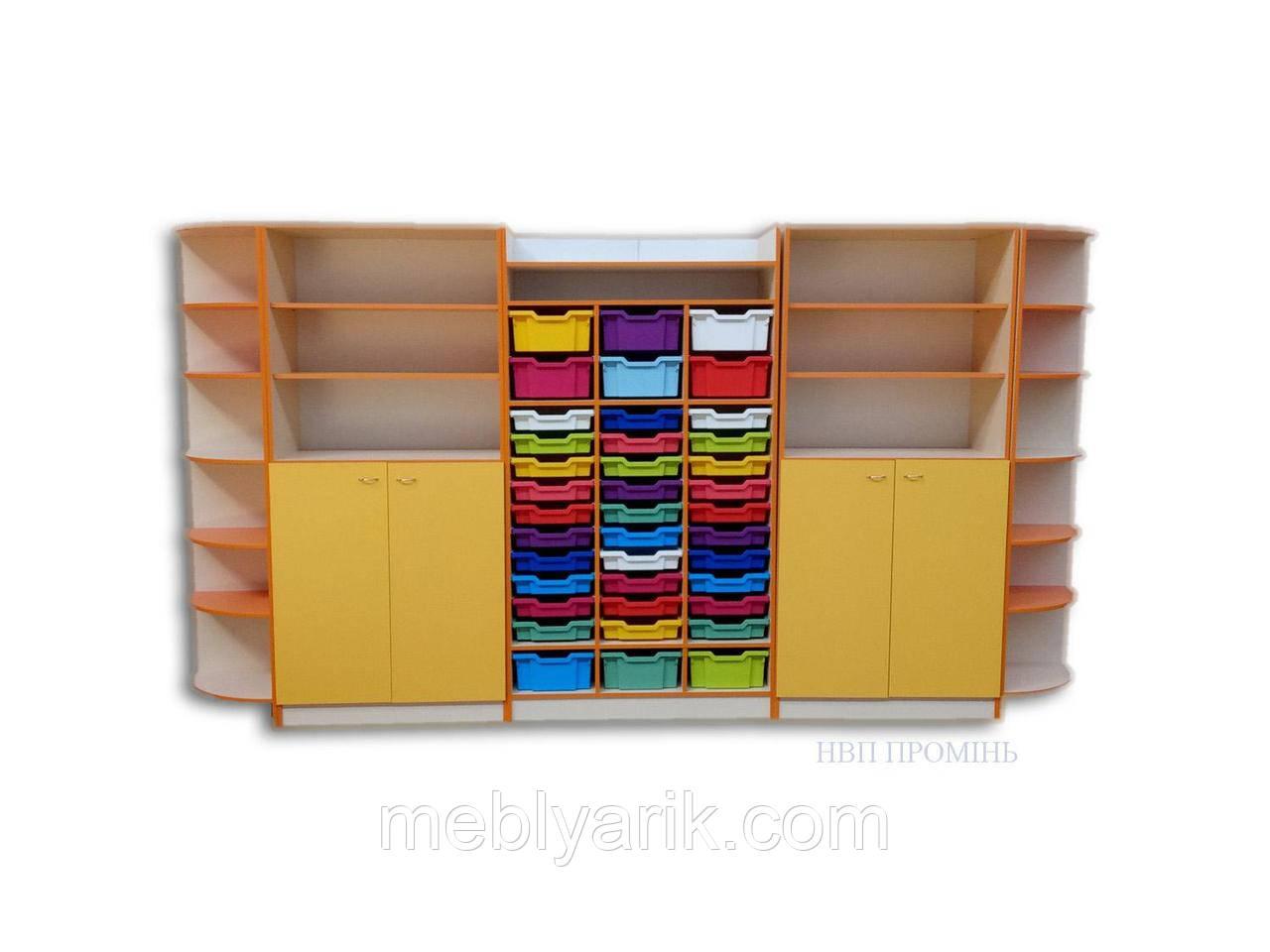 Набор шкафов для хранения дидактического материала 3530*440*1864 мм.