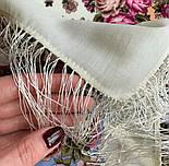 Ночь светла 1837-0, павлопосадский платок шерстяной  с шелковой бахромой, фото 9