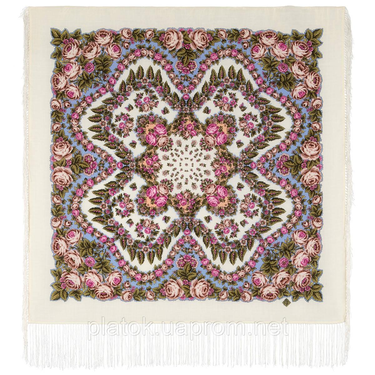 Ночь светла 1837-0, павлопосадский платок шерстяной  с шелковой бахромой