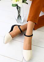 Босоножки женские, черные задник и ремешок, материал - натуральная кожа, FS-3056. Белые
