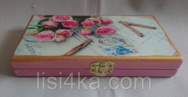 Деревянная розовая  купюрница с розами и корицей