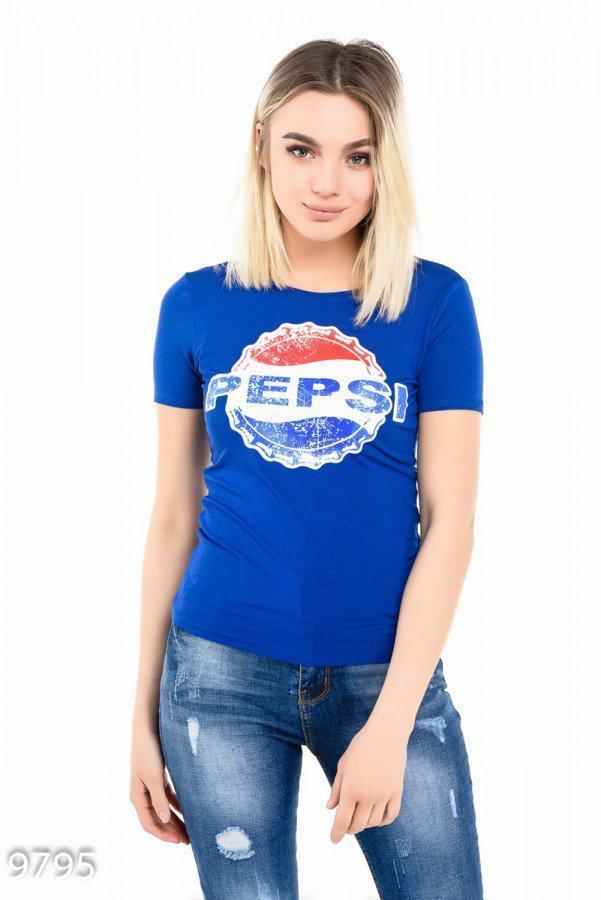 Ярко-синяя футболка   Код - 9776