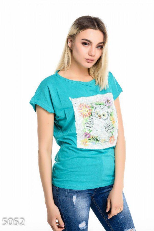 Бирюзовая футболка   Код - 5052