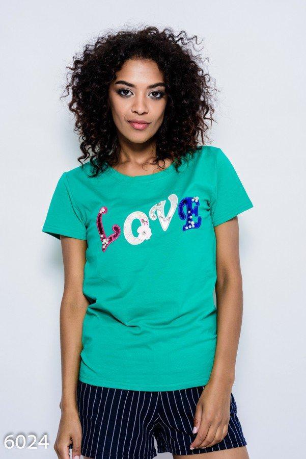Зеленая летняя трикотажная футболка   Код - 6024
