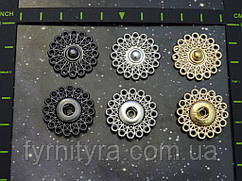 Кнопка 25мм ажурная золото, чернённая, никель №2