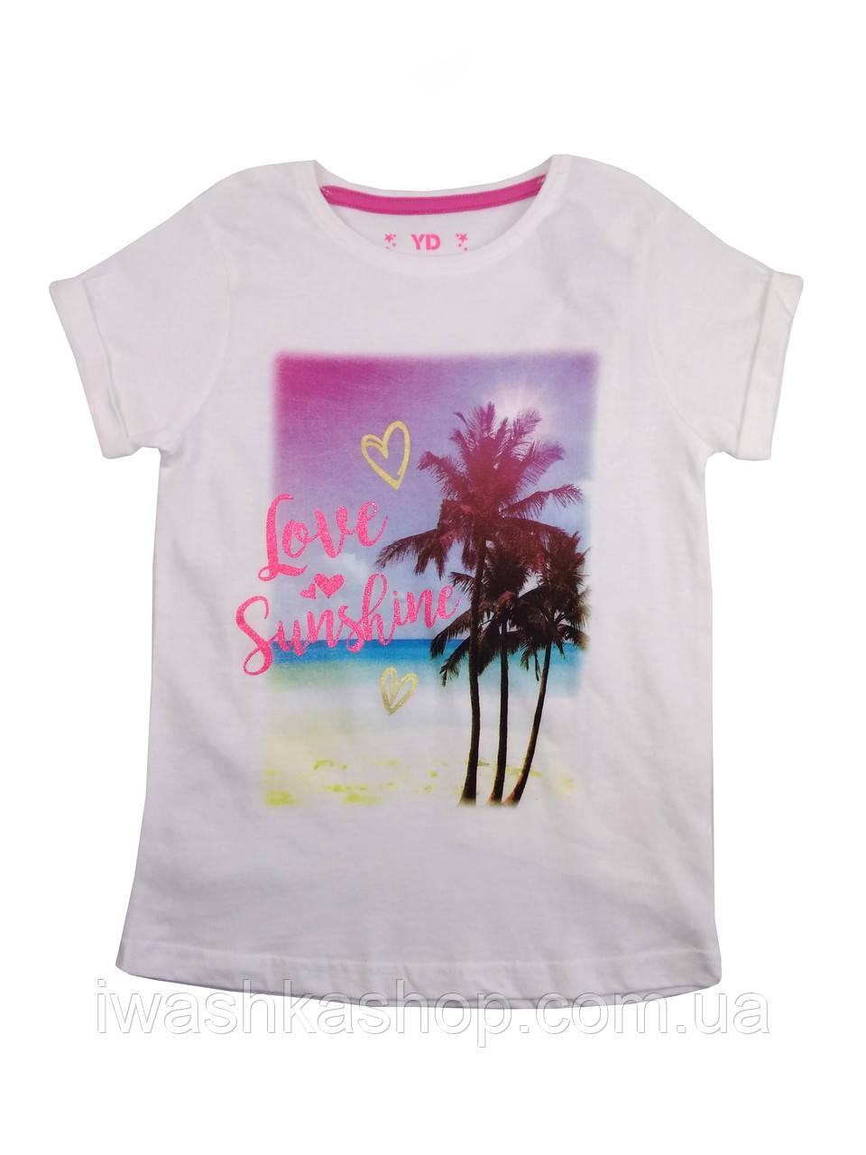 Стильная белая футболка с принтом на девочку 8 - 9 лет, р. 134, Young Dimension by Primark