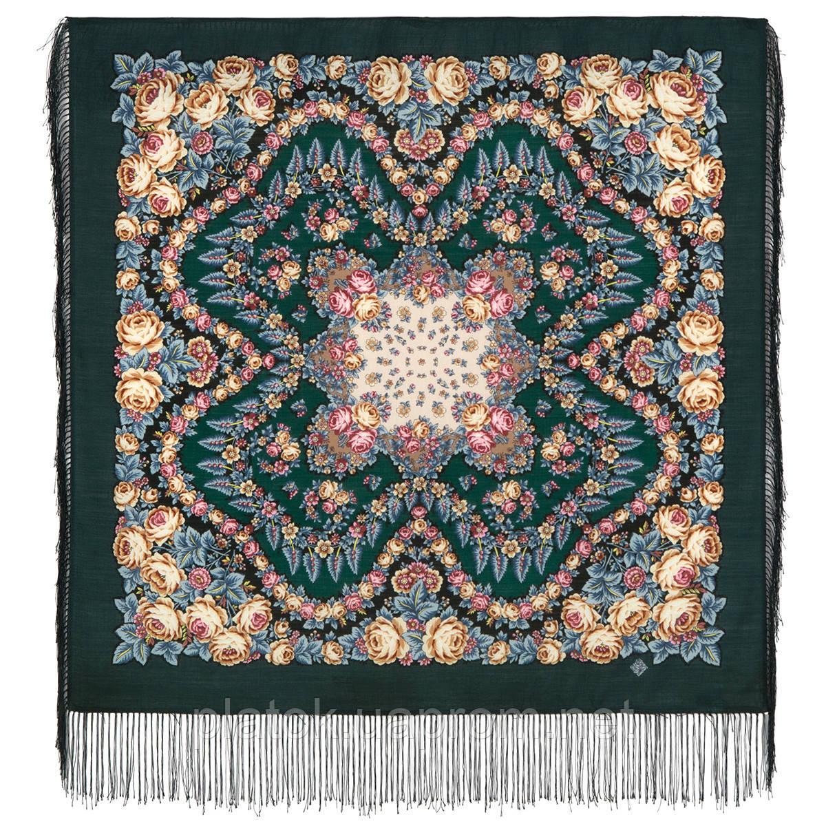Ночь светла 1837-9, павлопосадский платок шерстяной  с шелковой бахромой