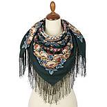 Ночь светла 1837-9, павлопосадский платок шерстяной  с шелковой бахромой, фото 2