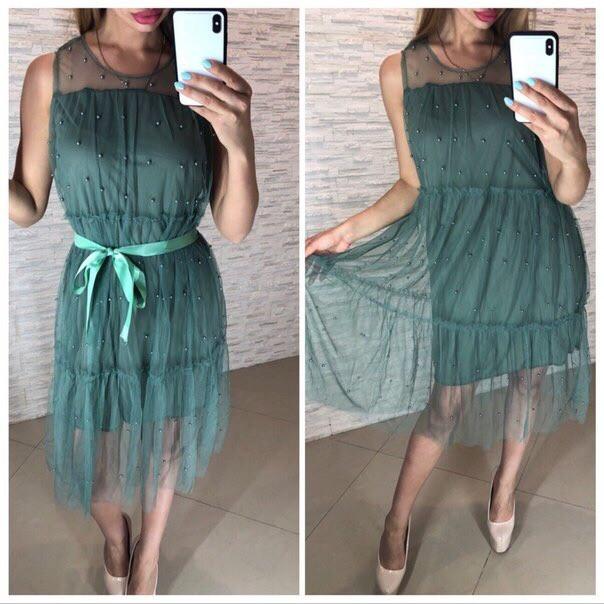 Шифоновое платье на лето с поясом и без рукавов 41plt2566