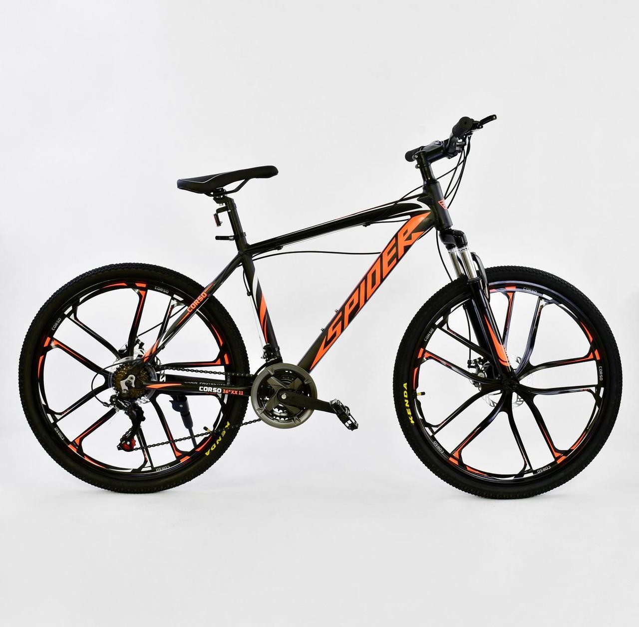 """Велосипед Спортивный CORSO 26""""дюймов JYT 006 - 8108 BLACK-ORANGE SPIDER Алюминий, 21 скорость"""