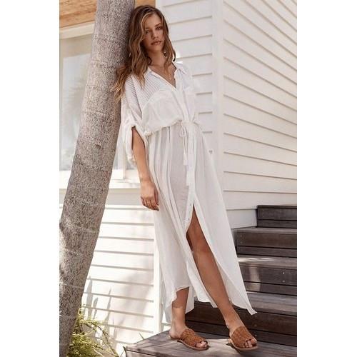 Пляжный халат длинный в пол КОТТОН Рубашка белая пляжная с поясом Туника Накидка на пляж 146-54-СРА