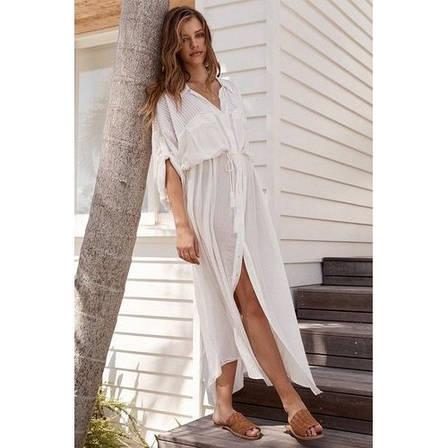 Пляжный халат длинный в пол КОТТОН Рубашка белая пляжная с поясом Туника Накидка на пляж 146-54-СРА, фото 2
