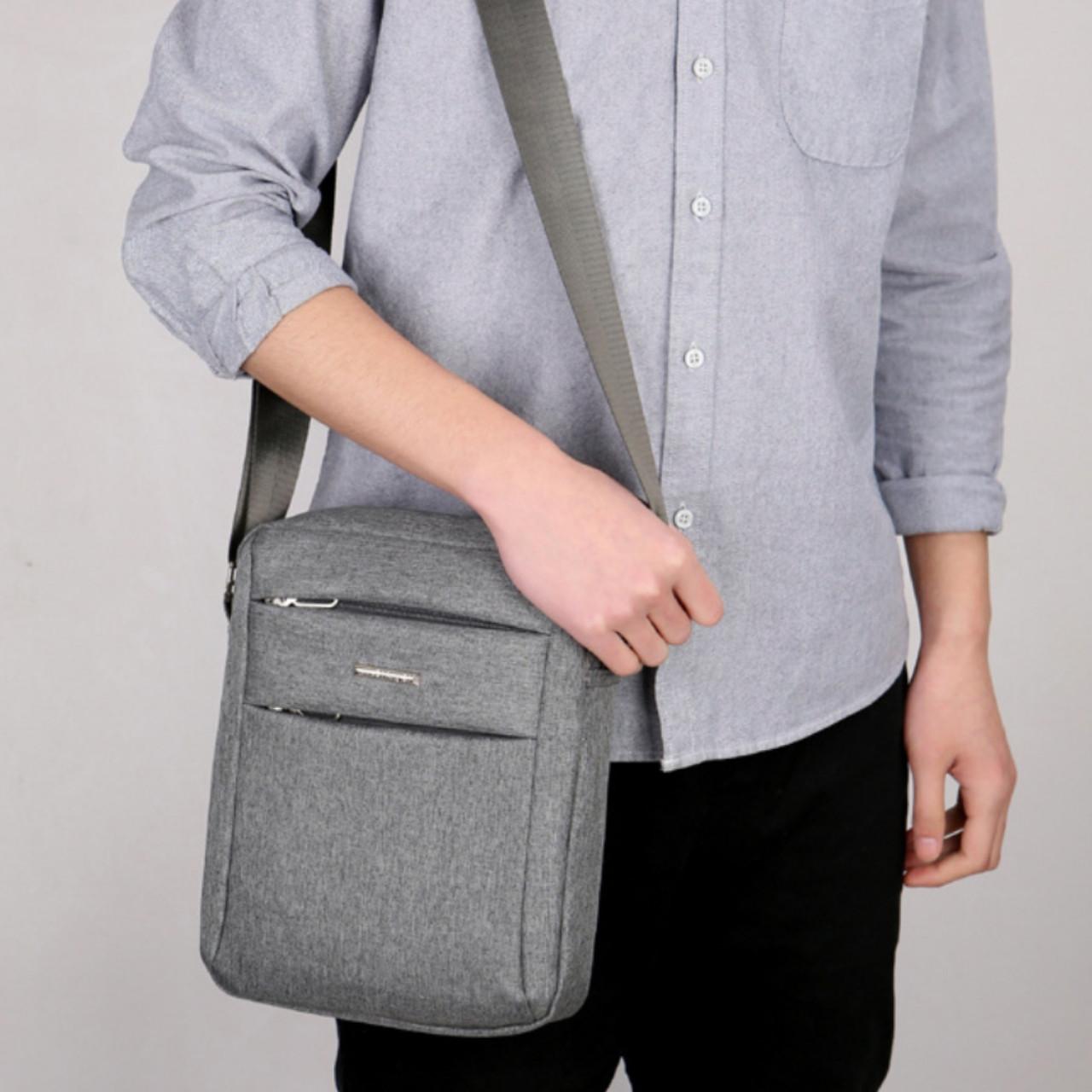 Мужская сумка тканевая через плечо барсетка месенджер crossbody кросс боди для документов повседневная