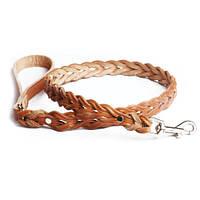 Поводок для собак ручной работы плетеный кожа